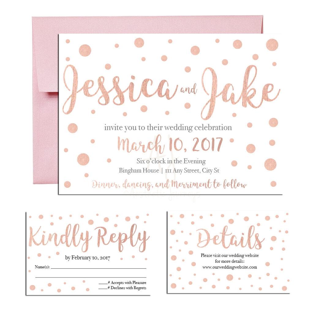 Rose Gold Wedding Invite Suite