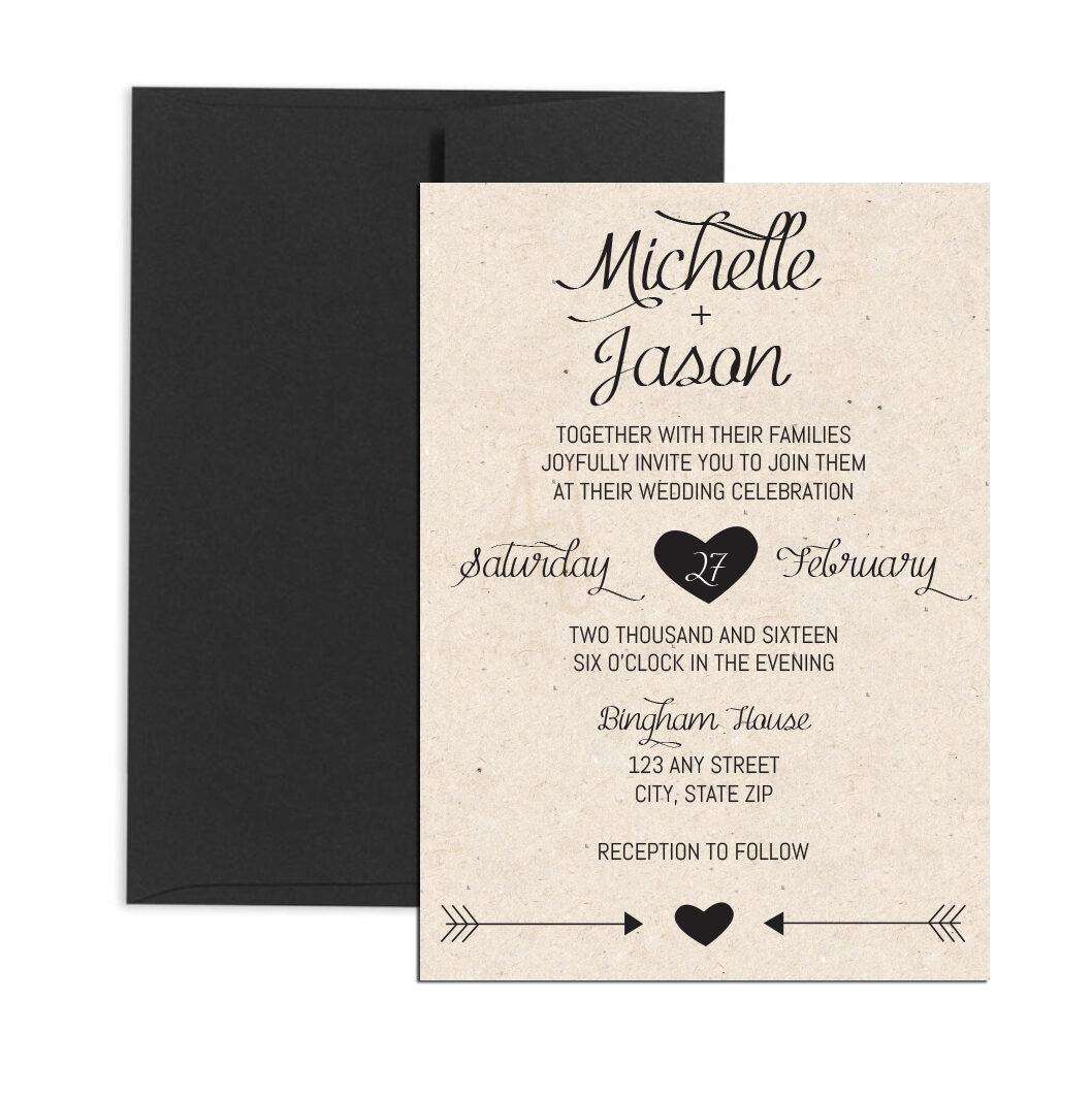 Rustic Cursive Wedding Invite
