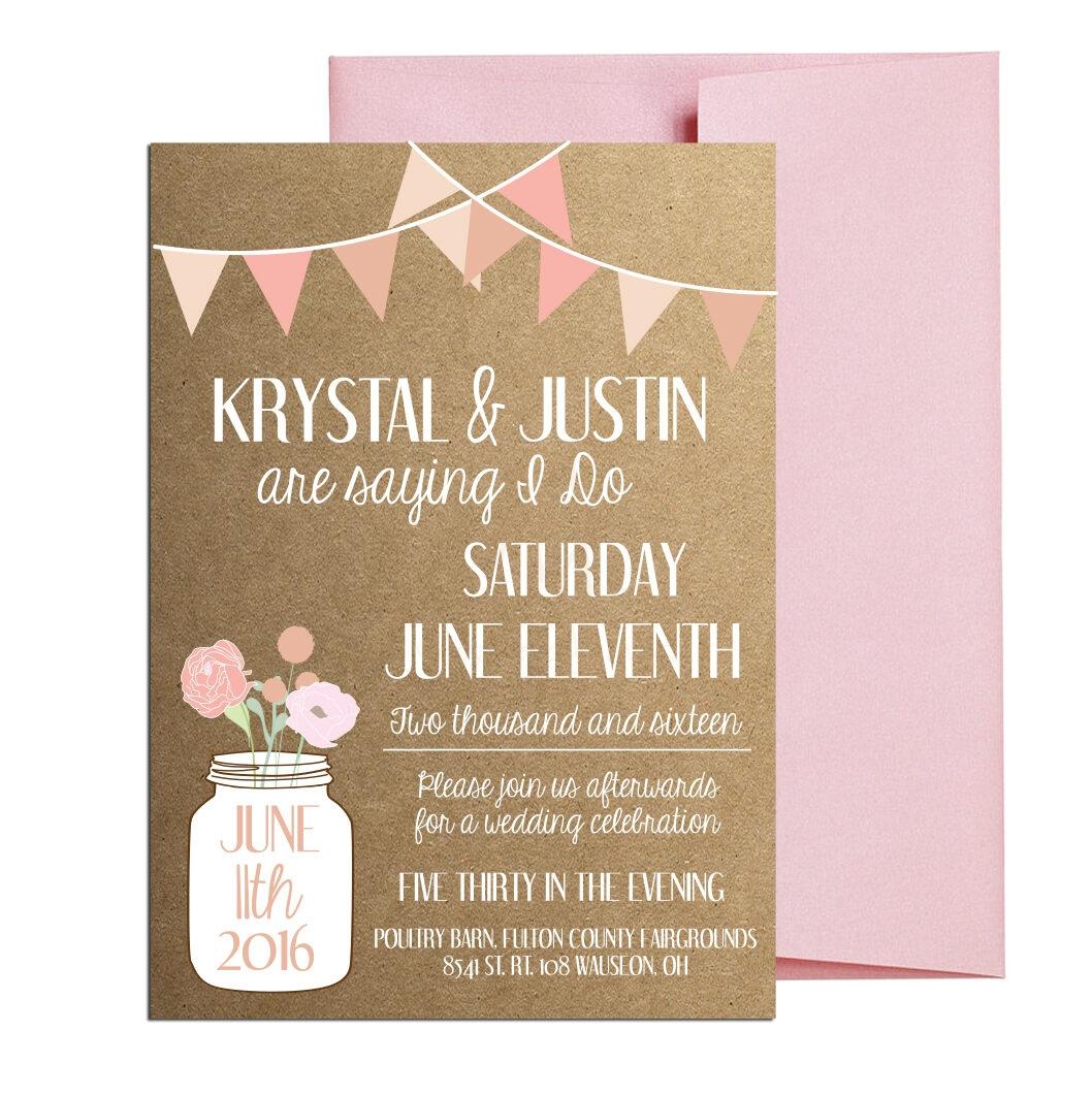 Rustic Blush Mason Jar Invite