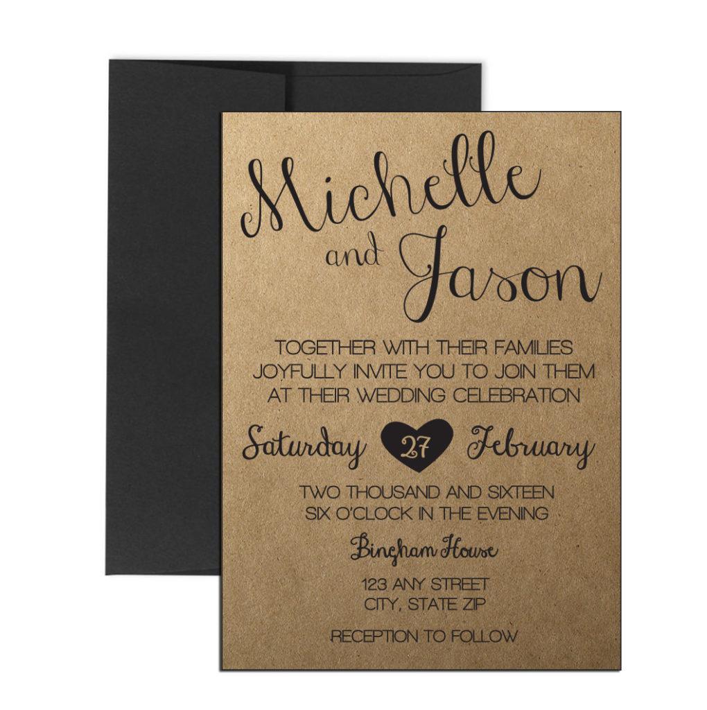 Cursive Rustic Wedding Invite