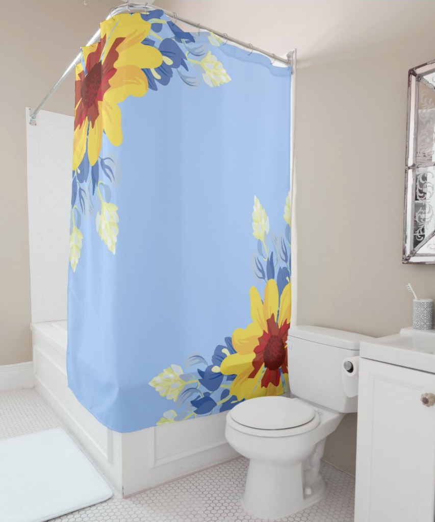 spring decor shower curtain