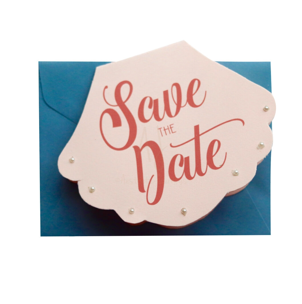 Shell-Shaped Beach Save the Date