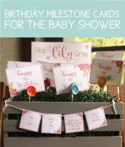 Birthday Milestone Cards for the Spring Baby Shower Game