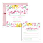 Square Shaped Floral Invitations