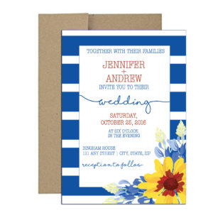 Stripped Floral Invitations