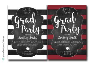 Striped Graduation Invites