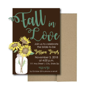 Fall Sunflower Bridal Shower Invite