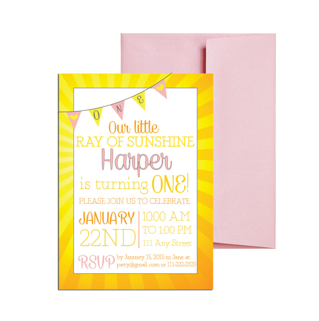 Yellow sunshine themed party invite