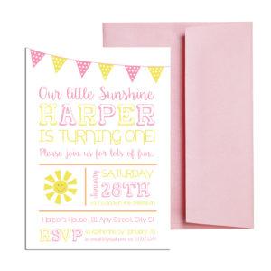 sunshine themed invite