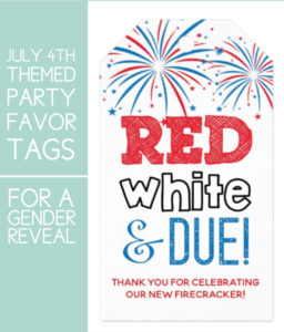 July 4th Gender Reveal Thank You Tags