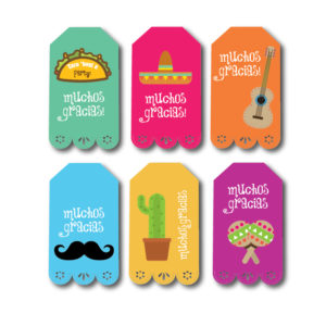 Fiesta Themed Party Favor Tags