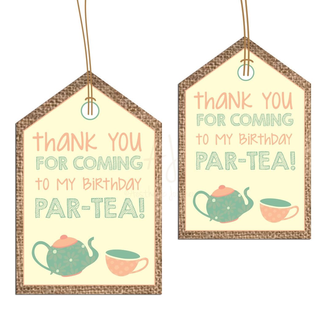 Tea party thank you tags