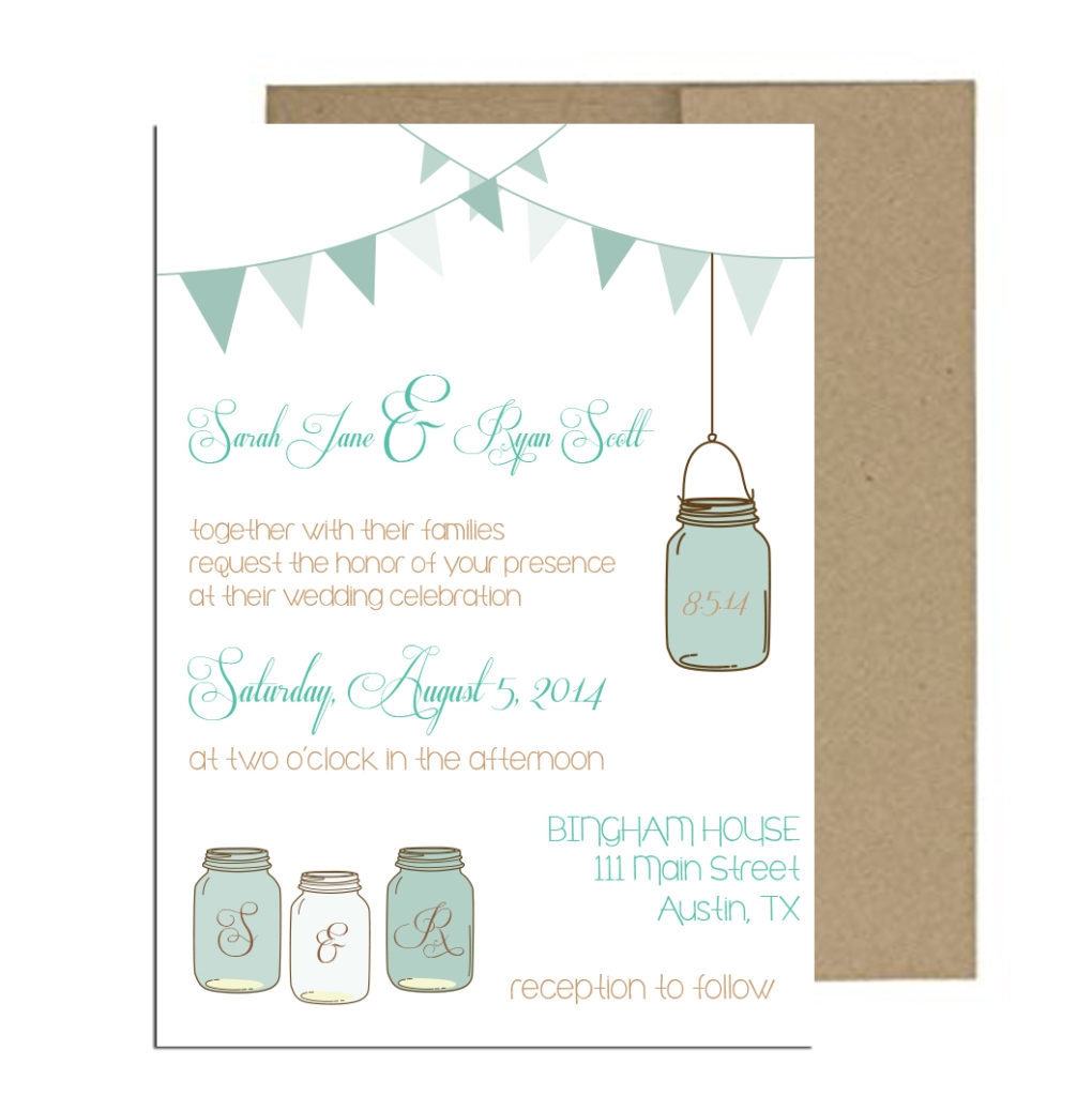 Teal Mason Jar Wedding Invite