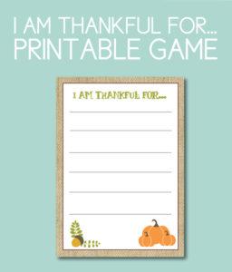 Printable Thankful For Game