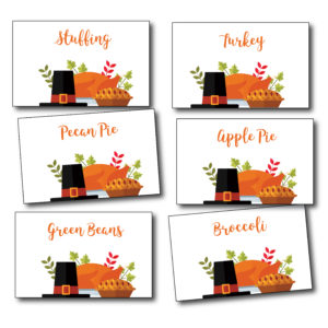 Thanksgiving Day Food Place Cards