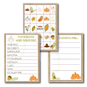 Printable Thanksgiving Games
