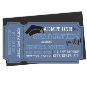 Ticket Shaped Graduation Invite