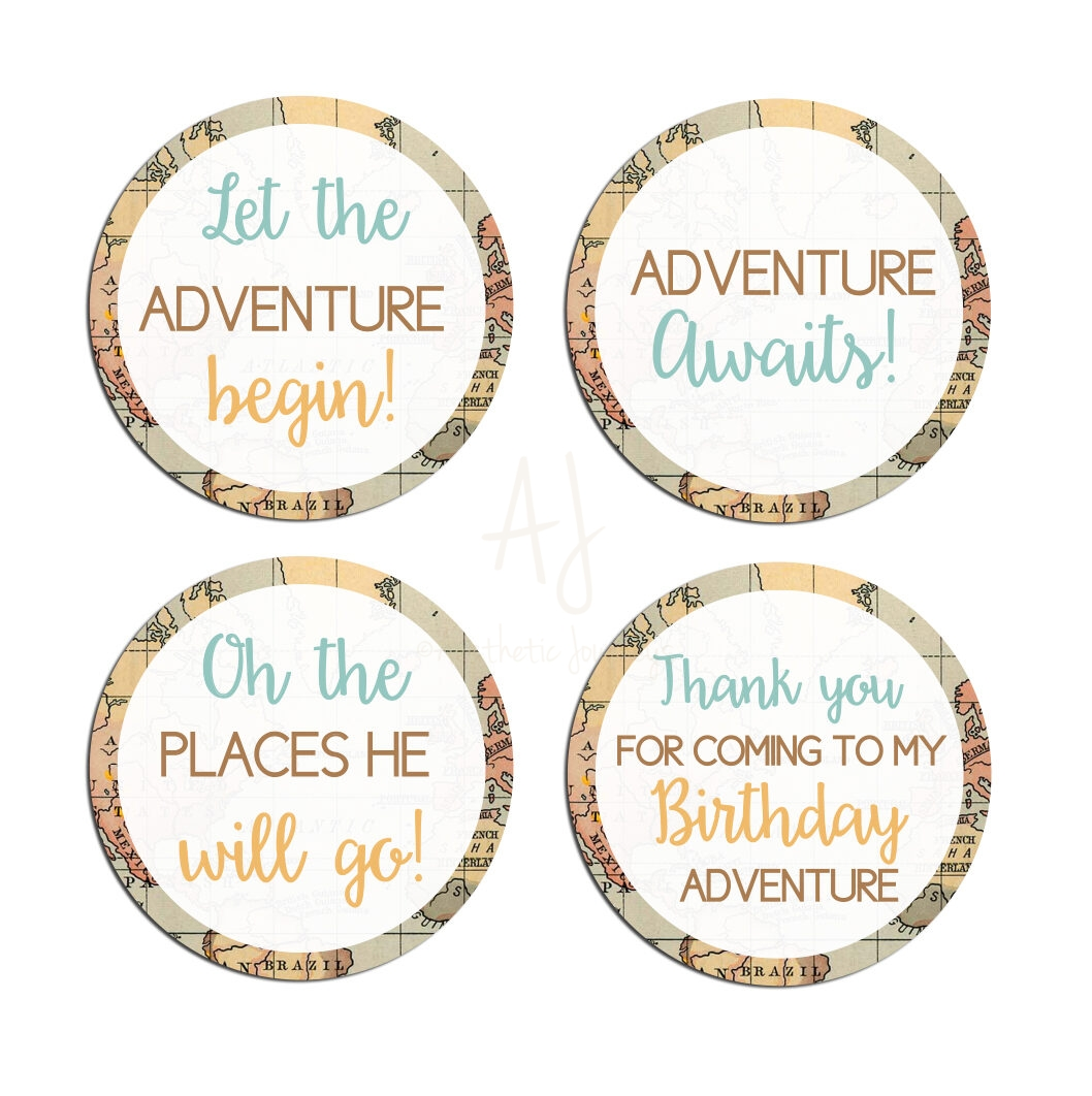 Travel Themed favor stickers