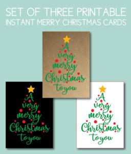 Very Merry Christmas Printable Cards