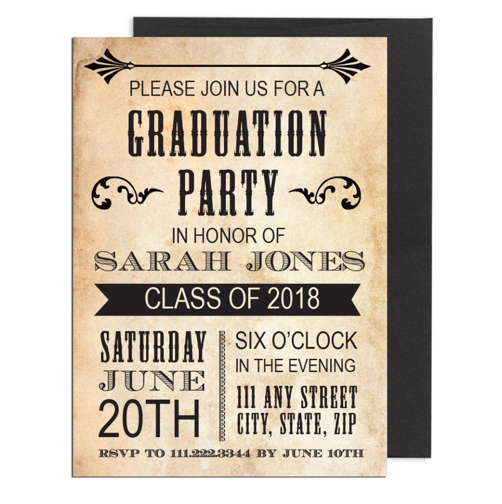 Vintage Themed Graduation Invite