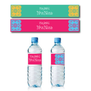 Fiesta Themed Water Bottle Labels