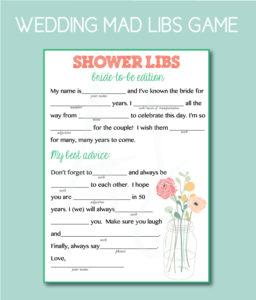 Wedding Mad Libs Bridal Shower Game