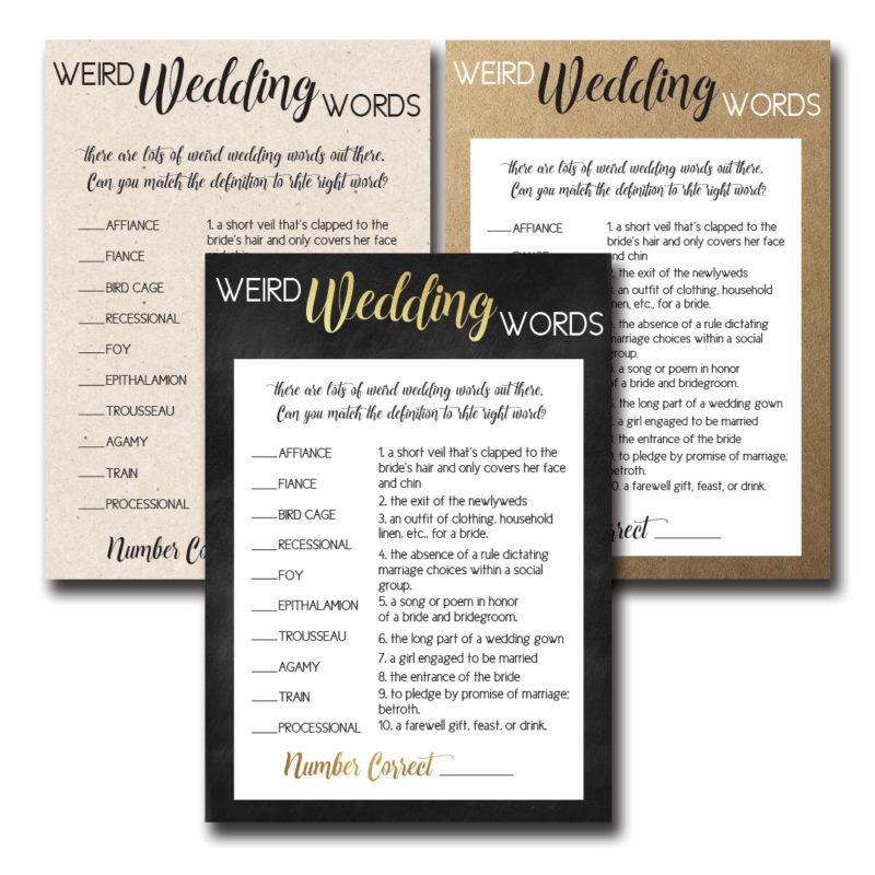 Weird Wedding Words Bridal Shower Game