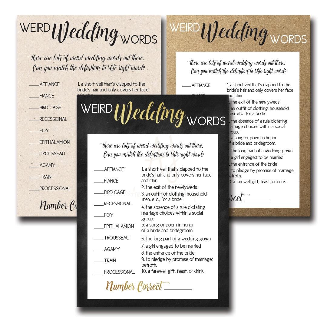 Weird.Wedding.Words