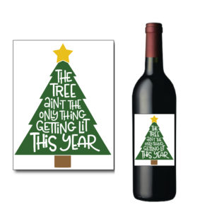 Christmas Tree Wine Bottle Label