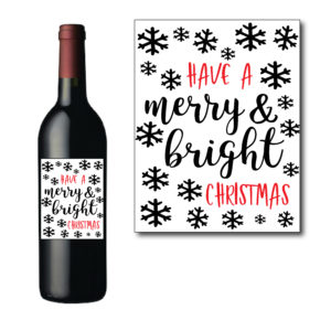 Bright and Merry Christmas Bottle Label