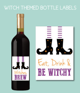 Witch Themed Wine Bottle Labels