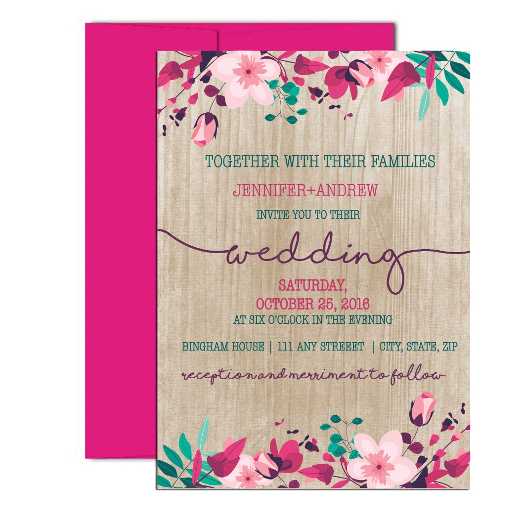 Wooden Floral Invitations