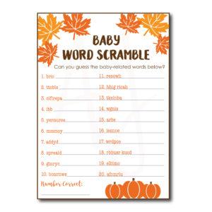 Fall Baby Word Scramble Game