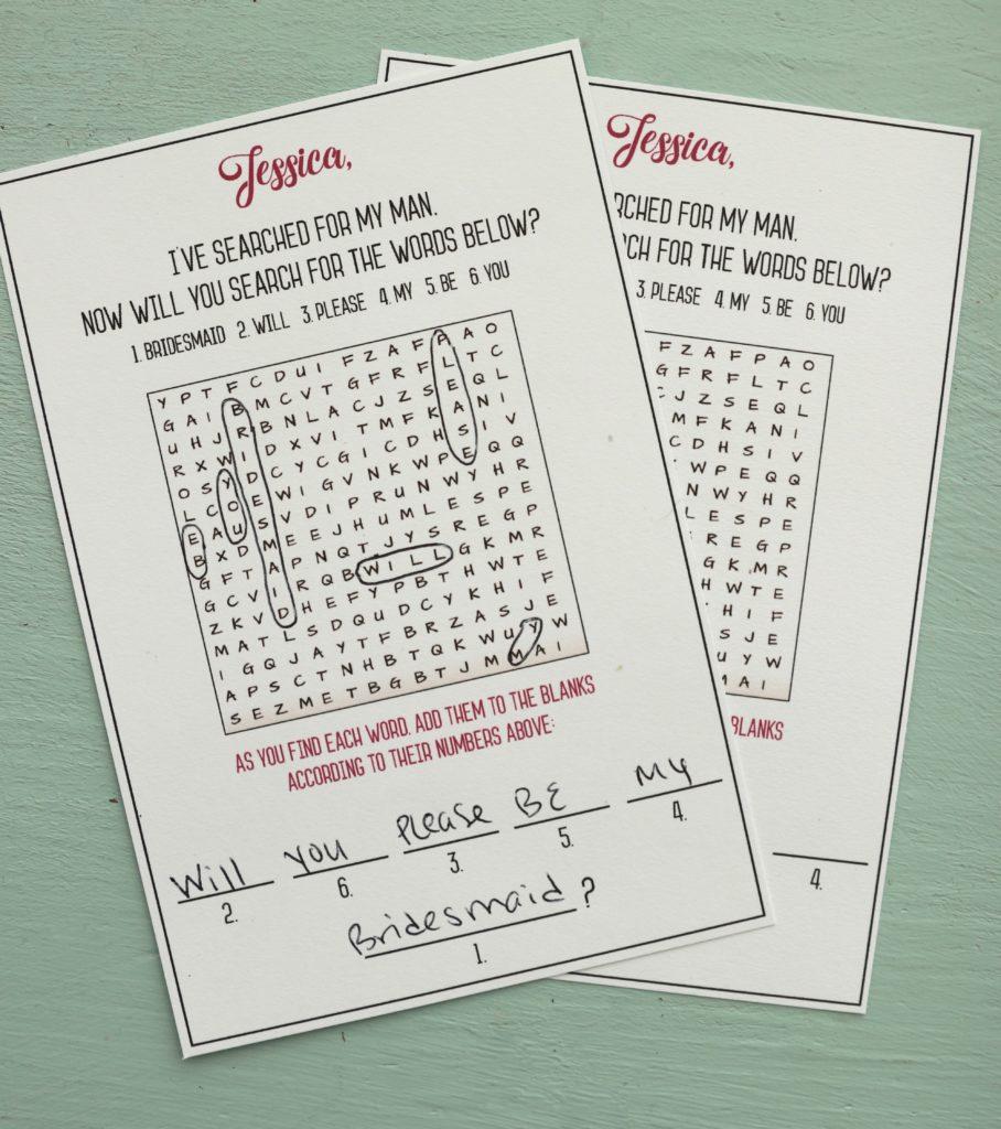 Word Search Bridesmaid Proposal Card