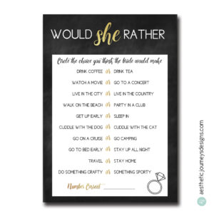 New Bridal Shower Games: Would She Rather
