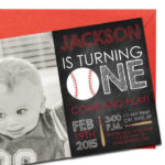 Baseball, Chalkboard Invitation with Personal Photo | Printed Birthday Invites with Envelopes | Custom Colors Available