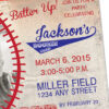 Baseball, Vintage Invitation with Personal Photo | Printed Birthday Invites with Envelopes | Custom Colors Available