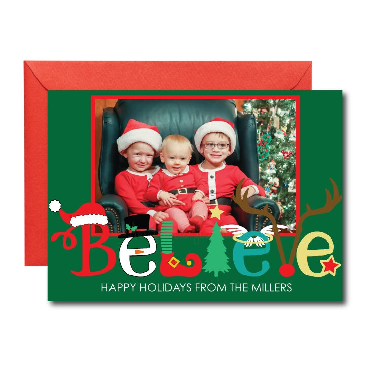 Photo Christmas Card with Believe