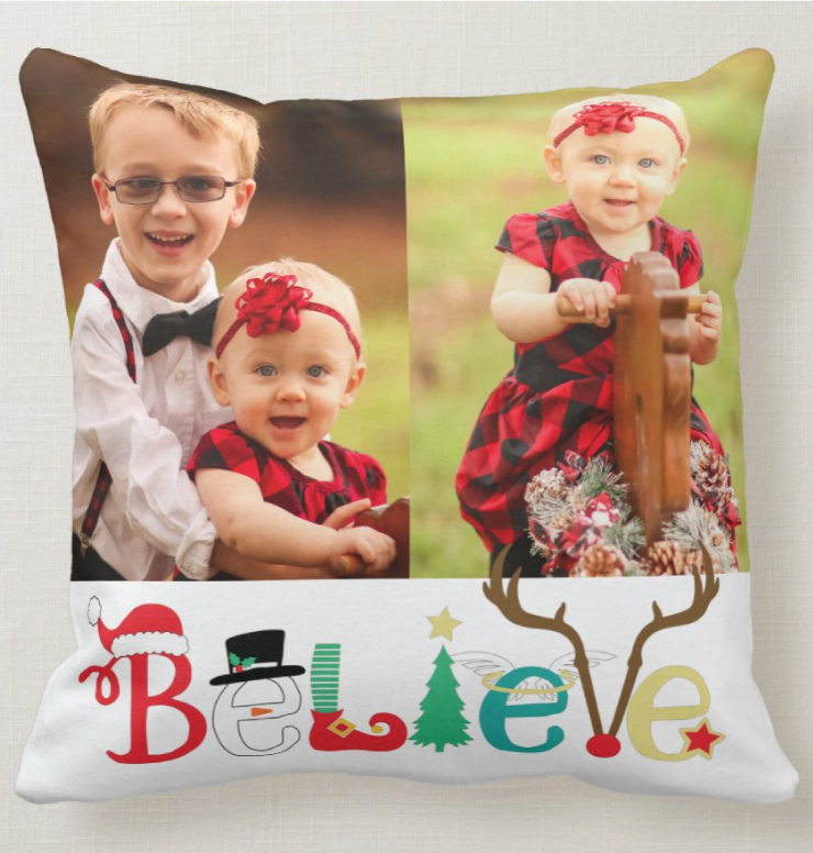 Square holiday photo pillow