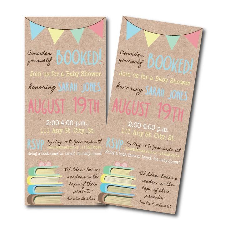 bookmark baby shower invitation