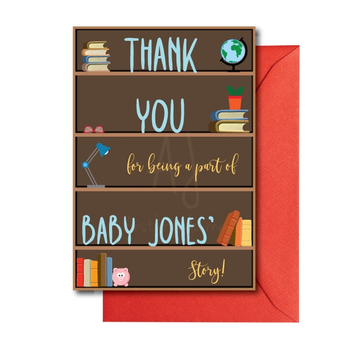 Book themed thank you card for baby shower