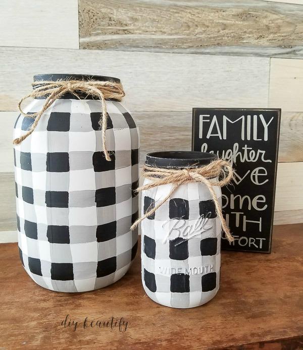 Buffalo Plaid Mason Jars by DIY Beautify