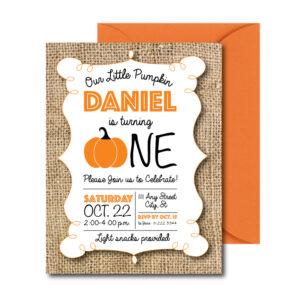 burlap pumpkin invite