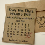 Calendar Magnet Save the Date   Rustic themed Save the Date with Envelopes Included   Set of 5 Save the Dates