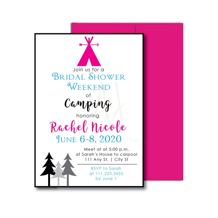 Camping Themed Bridal Shower Invite
