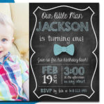 Chalkboard, Bow Party Invitation with Envelopes and Personal Photo   Printed Birthday Invites with Envelopes   Custom Colors Available