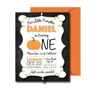 Chalkboard Pumpkin Party Invite