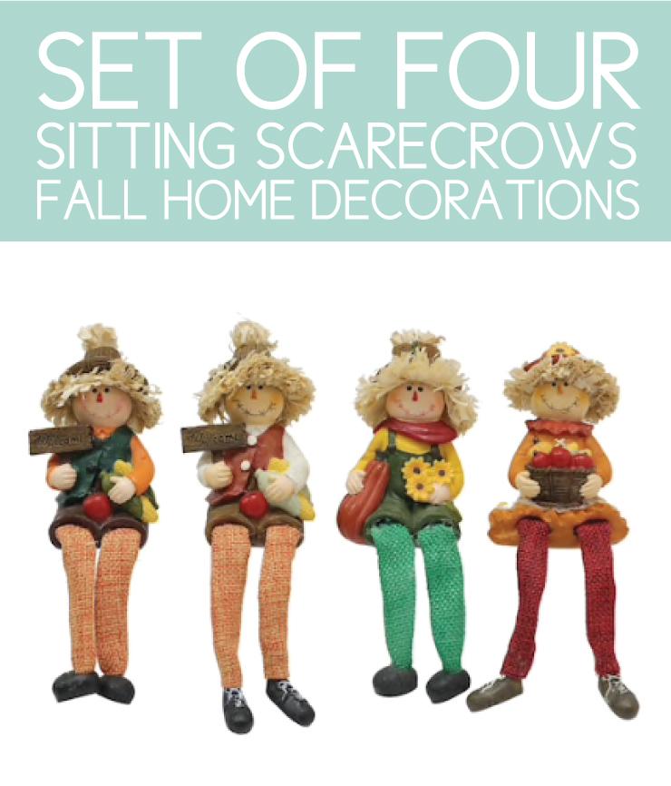 4 sitting scarecrows