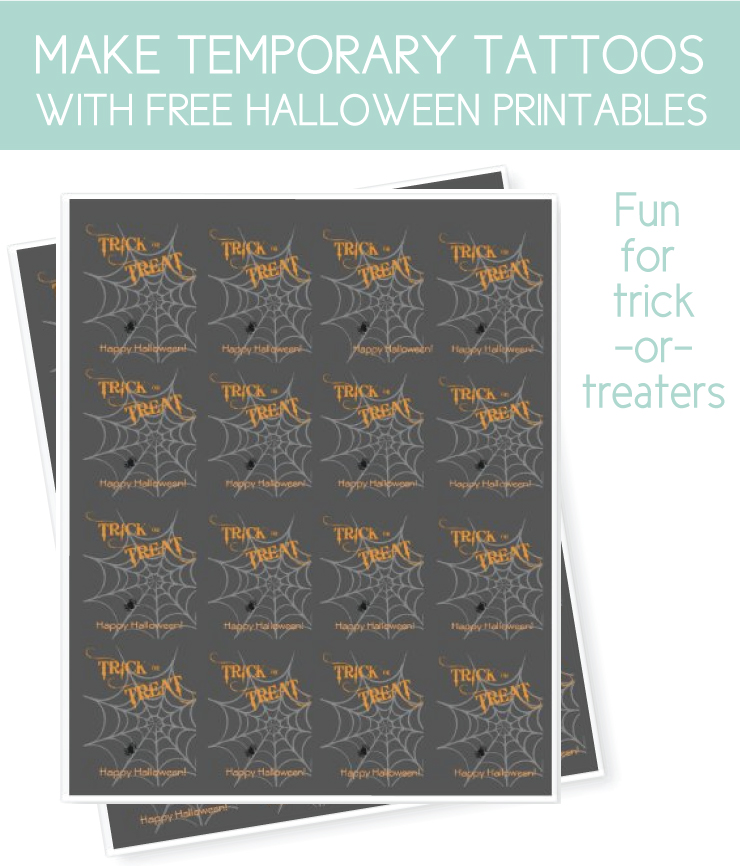 temporary tattoos made with free halloween printables