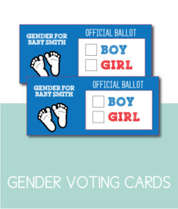 Boy or Girl Gender Voting Cards for Shower or Gender Reveal Party